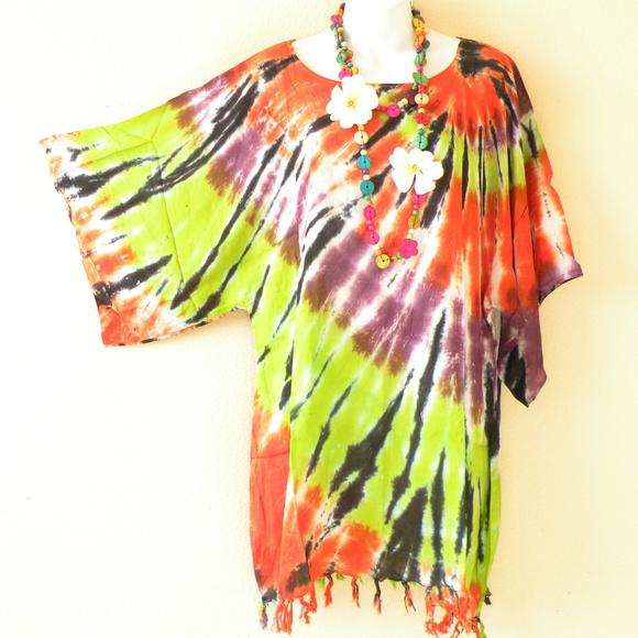 eff95bdd80 Tops | Tie Dye Kimono Plus Batik Caftan Hippie Blouse Top | Poshmark